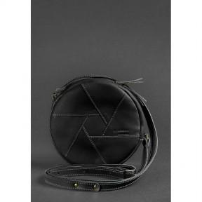 blanknote кожаная круглая женская сумка бон-бон krast черная