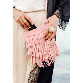 blanknote кожаная женская сумка с бахромой мини-кроссбоди fleco розовая