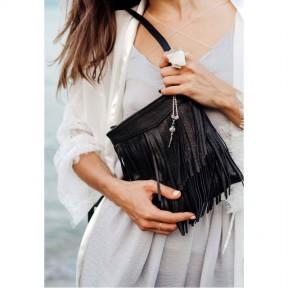 blanknote кожаная женская сумка с бахромой мини-кроссбоди fleco черная