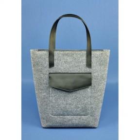 blanknote фетровая женская сумка шоппер d.d. с кожаными черными вставками