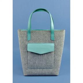 blanknote фетровая женская сумка шоппер d.d. с кожаными бирюзовыми вставками