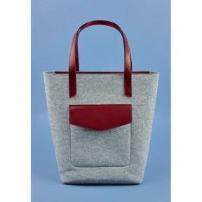 blanknote фетровая женская сумка шоппер d.d. с кожаными бордовыми вставками