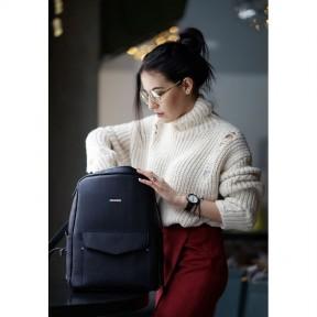 blanknote кожаный городской женский рюкзак на молнии cooper темно-синий