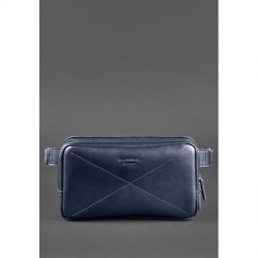 blanknote кожаная поясная сумка dropbag maxi темно-синяя