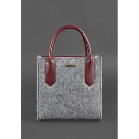 blanknote фетровая женская сумка-кроссбоди blackwood с кожаными бордовыми вставками
