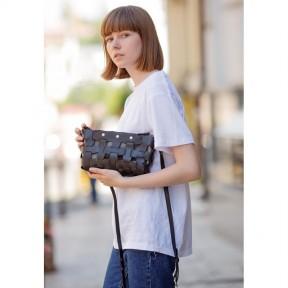 blanknote кожаная плетеная женская сумка пазл s черная krast