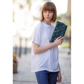 blanknote кожаная плетеная женская сумка пазл s зеленая krast