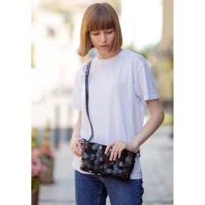 blanknote кожаная плетеная женская сумка пазл s  угольно-черная