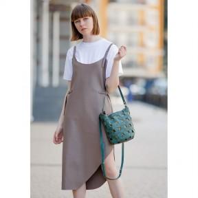 blanknote кожаная плетеная женская сумка пазл m зеленая crazy horse