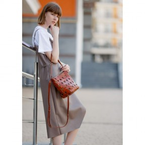 blanknote кожаная плетеная женская сумка пазл m светло-коричневая krast