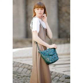 blanknote кожаная плетеная женская сумка пазл m зеленая krast