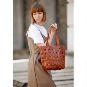 blanknote кожаная плетеная женская сумка пазл l светло-коричневая krast