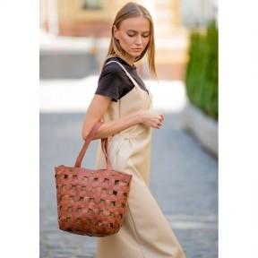 blanknote кожаная плетеная женская сумка пазл l светло-коричневая crazy horse