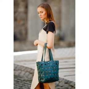 blanknote кожаная плетеная женская сумка пазл l зеленая krast