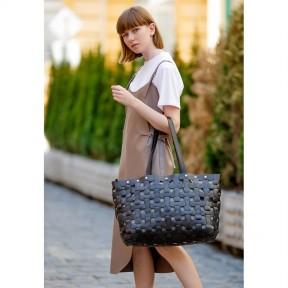 blanknote кожаная плетеная женская сумка пазл xl черная krast