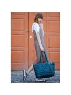 BlankNote Кожаная плетеная женская сумка Пазл Xl зеленая Krast