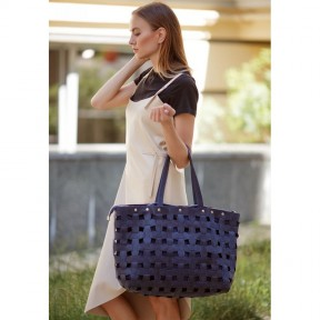 blanknote кожаная плетеная женская сумка пазл xl синяя crazy horse