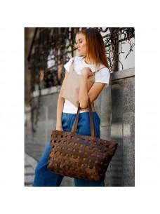 BlankNote Кожаная плетеная женская сумка Пазл Xl темно-коричневая Crazy Horse
