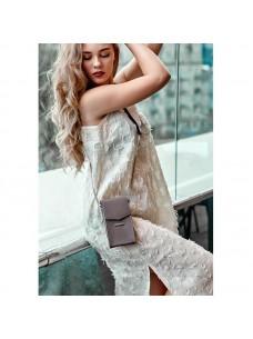 BlankNote Вертикальная женская кожаная сумка Mini темно-бежевая поясная/кроссбоди