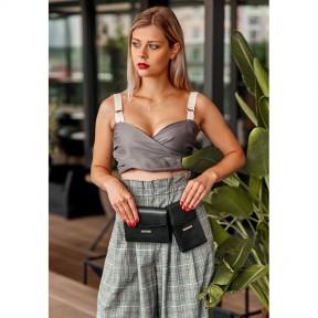 blanknote набор женских черных кожаных сумок mini поясная/кроссбоди