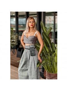 BlankNote Вертикальная женская кожаная сумка Mini черная поясная/кроссбоди