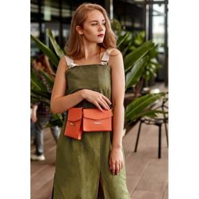 blanknote набор женских коралловых кожаных сумок mini поясная/кроссбоди