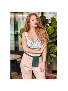 BlankNote Вертикальная женская кожаная сумка Mini поясная/кроссбоди зеленая