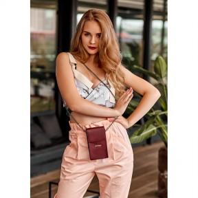 blanknote вертикальная женская кожаная сумка mini поясная/кроссбоди бордовая