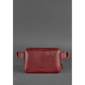 blanknote кожаная женская поясная сумка dropbag mini krast бордовая