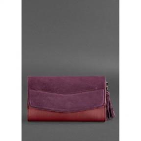 blanknote женская кожаная сумка элис бордовая велюр krast