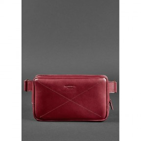 blanknote кожаная женская поясная сумка dropbag maxi бордовая krast