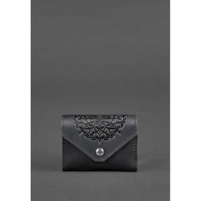 blanknote кожаный женской кард-кейс 3.0 черный с мандалой