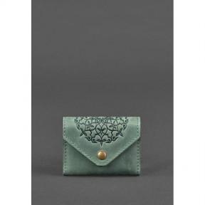 blanknote кожаный кард-кейс 3.0 зеленый с мандалой