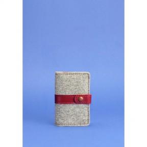 blanknote фетровый женский кард-кейс 6.1 с кожаными бордовыми вставками