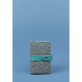 blanknote фетровый женский кард-кейс 6.1 с кожаными вставками тиффани