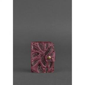 blanknote женский кожаный кард-кейс 7.1 (книжечка) бордовый с перьями