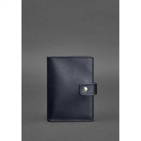 blanknote кожаная обложка для паспорта 5.0 (с окошком) темно-синяя краст