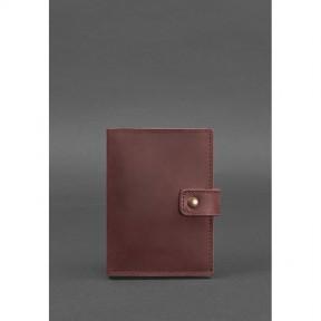 blanknote женская кожаная обложка для паспорта 5.0 (с окошком) бордовая crazy horse