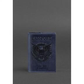 blanknote кожаная обложка для паспорта с американским гербом синяя