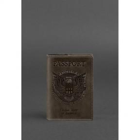 blanknote кожаная обложка для паспорта с американским гербом темно-коричневая