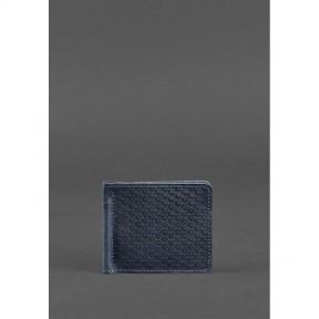 blanknote мужское кожаное портмоне синее1.0 зажим для денег карбон