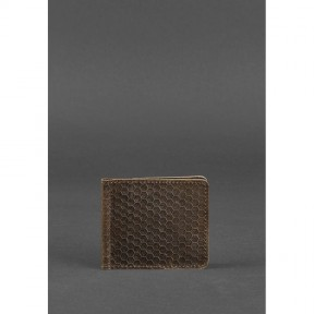 blanknote мужское кожаное портмоне темно-коричневое 1.0 зажим для денег карбон