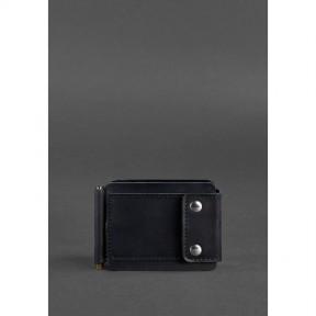 blanknote мужское кожаное портмоне черное 10.0 зажим для денег crazy horse