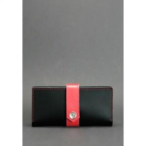 blanknote кожаное женское портмоне 3.0 черное с красным