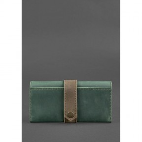 blanknote кожаное женское портмоне 3.0 зеленое с коричневым