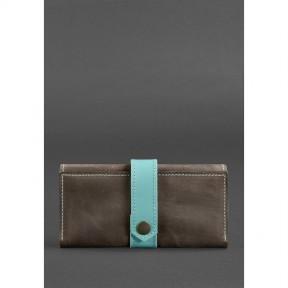 blanknote кожаное женское портмоне 3.0 темно-коричневое с бирюзовым