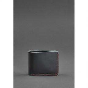 blanknote мужское кожаное портмоне 4.1 (4 кармана) черное с красной нитью