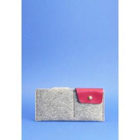 blanknote фетровое женское портмоне-купюрник 8.0 с кожаными бордовыми вставками