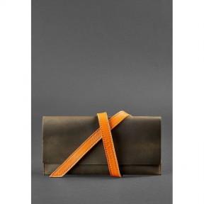 blanknote кожаный женский тревел-кейс voyager 1.0  темно-коричневый с оранжевым