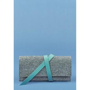 blanknote женский тревел-кейс 1.0 из фетра с кожаными бирюзовыми вставками